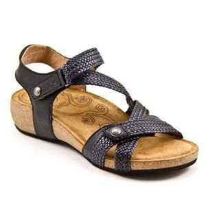 Taos Trulie Sandals Woven Black Leather Wedges